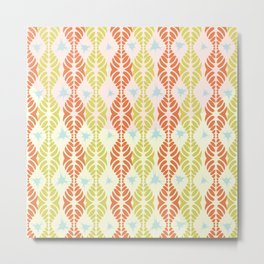 Leaf Motif Collection: Orange & Lemons with Blue Splat Metal Print