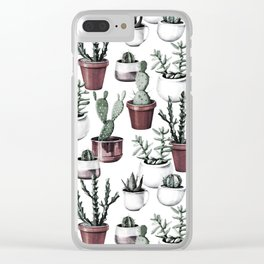 Happy Cacti in Rose Gold Pots Pattern Clear iPhone Case