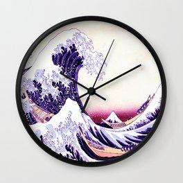 The Great wave purple fuchsia Wall Clock
