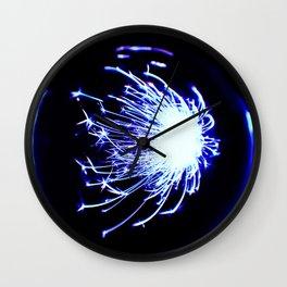 Blue Glitter Firework In Sphere Wall Clock