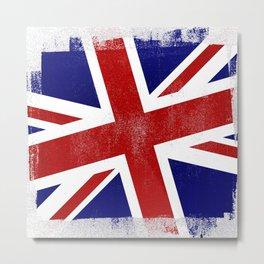 Union Jack Distressed Halftone Denim Flag Metal Print