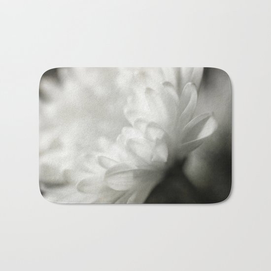 White Textured Flower Bath Mat