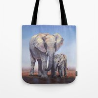 novelty Tote Bags featuring Elephants Mom Baby by Moody Muse