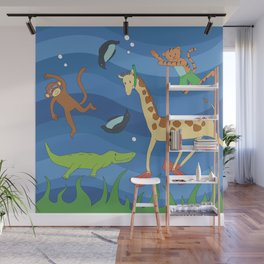 Swimming Zoo Animals Wall Mural