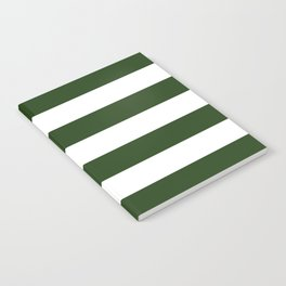 Large Dark Forest Green and White Cabana Tent Stripes Notebook