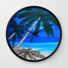 White sand beach  Wall Clock