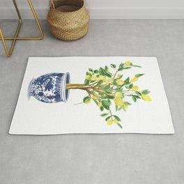 Lemon tree , watercolor painting Rug