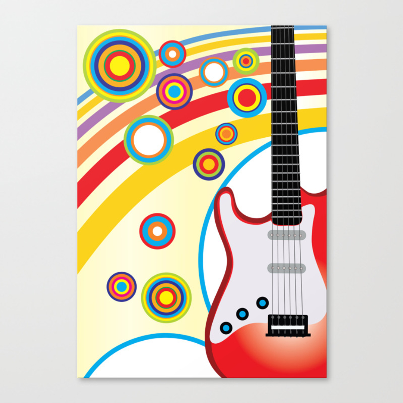 Fancy Guitar Canvas Wall Art Motif - Wall Art Collections ...