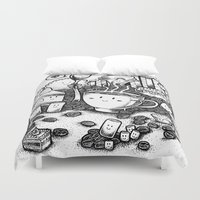 coffe Duvet Covers featuring Smile coffe by Kisava NiCh