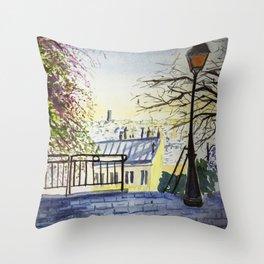 Romantic View in Montmartre Throw Pillow