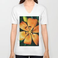 lily V-neck T-shirts featuring Lily by Falko Follert Art-FF77