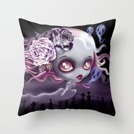 Ghostly Luna Throw Pillow