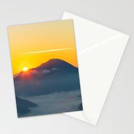 Sun peaking behind Uršlja gora, Slovenia Stationery Cards