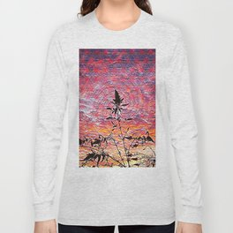 Leaf shadow at sunset Long Sleeve T-shirt
