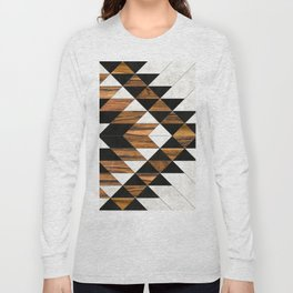 Urban Tribal Pattern 9 - Aztec - Concrete and Wood Long Sleeve T-shirt