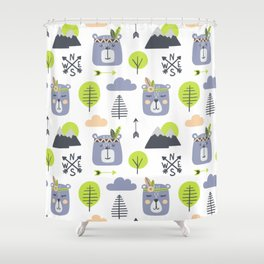 Cute Mountains Bears and Trees Happy Campers Children Pattern Shower Curtain
