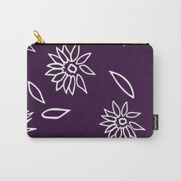 Dark Purple Falling Flora Pattern 1 Carry-All Pouch