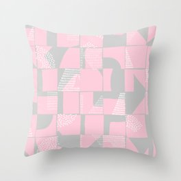 Blush and Gray Typographical Fragments Cheater Quilt Throw Pillow
