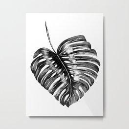Monstera leaf black watercolor illustration Metal Print