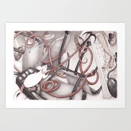 Mice and mess Art Print