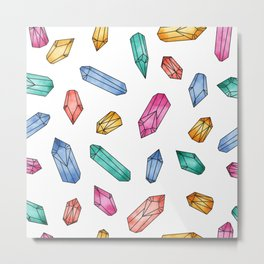 Crystals pattern - White Metal Print