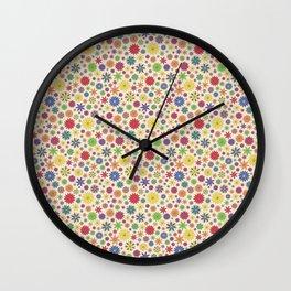 Flower Field Multi-Color on Cream Wall Clock