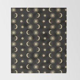 The Sun, The Moon, The Crescent of Moon Throw Blanket