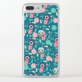 Owls and flowers in blue Clear iPhone Case