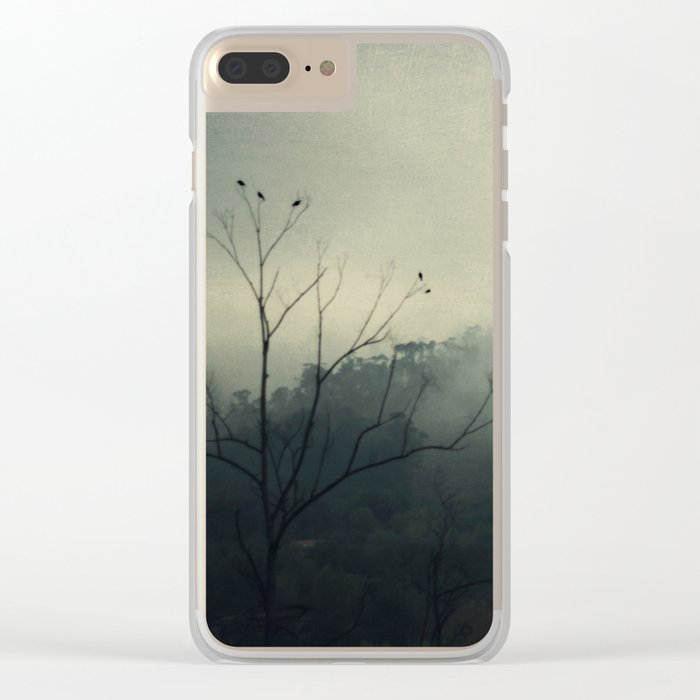 moody fog mountain Clear iPhone Case