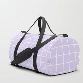 Lavender white minimalist grid pattern Duffle Bag
