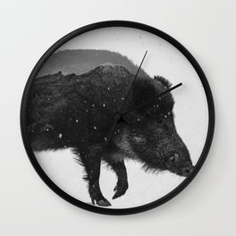 Wild Boar (B&W) Wall Clock