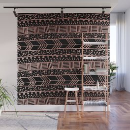 Girly faux rose fold  black geometric brushstrokes tribal Wall Mural