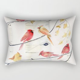 Winter Song 4 - Cardinal Birds Rectangular Pillow