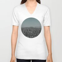 manhattan V-neck T-shirts featuring Manhattan by Leah Flores