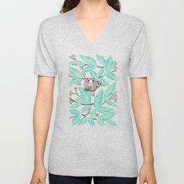 Happy Sloth – Tropical Mint Rainforest Unisex V-Neck