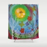 northern lights Shower Curtains featuring Northern Lights by Cindy's Colorful Canvas