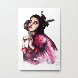 Geisha Girl // Fashion Illustration Metal Print