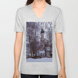Concept Baden-Wurttemberg : Chapel with Cemetery in Laupheim Unisex V-Neck