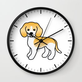 Cute Lemon And White Beagle Dog Cartoon Illustration Wall Clock