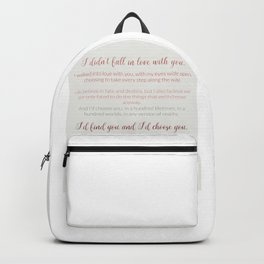I'd choose you 4 #quotes #love #minimalism Backpack