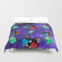 playstation Duvet Covers featuring Nerdy Cat by Oh Monday