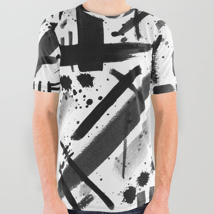 Abstract Black and White Watercolor Brush Lines Bold Modern Painting Design  All Over Graphic Tee by aej_design