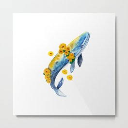 Watercolor whales and yellow flowers Metal Print