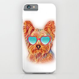 Yorkshire Terrier Colorful Yorkie Neon Dog Sunglasses iPhone Case