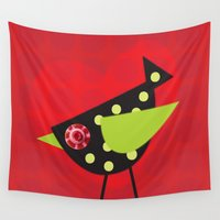 birdy Wall Tapestries featuring Birdy inspired Love by Sweetie Buttons