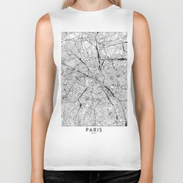 Paris White Map Biker Tank