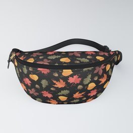 Autumn Leaves Pattern Black Background Fanny Pack