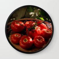 vegetables Wall Clocks featuring Red vegetables by Svetlana Korneliuk