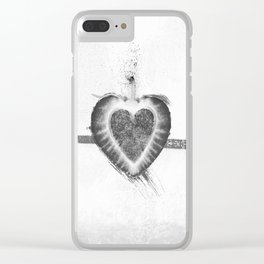 Black and White Stawberry Clear iPhone Case