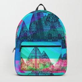Retro Glitch Mountain Scene Backpack